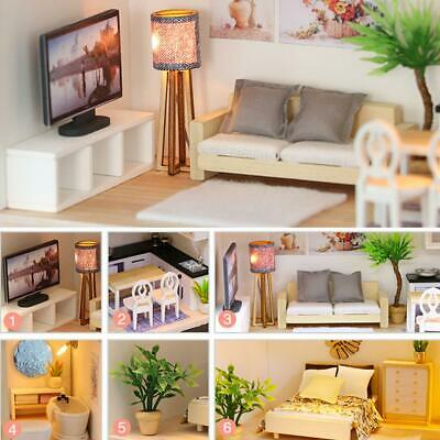 3D DIY Mini Loft Wooden Dollhouse Kit Realistic House Room Toy Furniture Gift