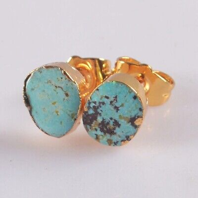 Natural Genuine Turquoise Stud Earrings Gold Plated B078016