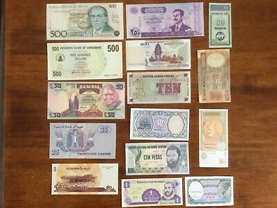 15 X World bank notes.