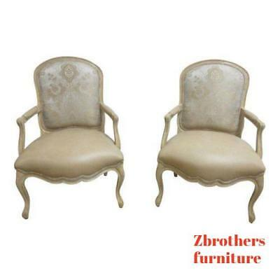 2 Vintage Custom Leather Italian Carved Fireside Lounge Club Chairs Louis XV A