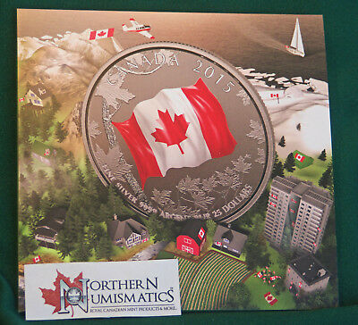 2015 Canada $25 for $25  - Canada's flag silver coin - with red colour: mint pkg