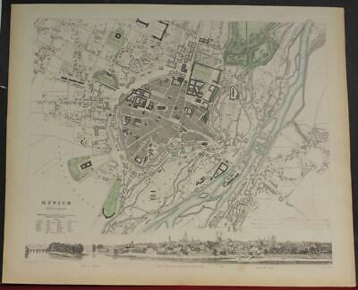 Munich Germany 1832 Sduk Antique Original Steel Engraved City Map