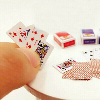 1 Set 1:12 Cute Miniature Dollhouse Poker Playing Cards Random Mini Accessories