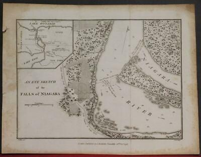 Niagara Falls United States & Canada 1798 Stockdale Antique Copper Engraved Map