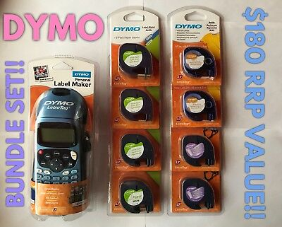 Dymo LetraTag Label Maker Set! w/ 9x White Cassettes+MORE! NEW/SEALED FREE POST!