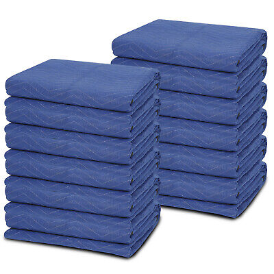 12 Moving Blankets Mats Deluxe Pro (35lb/dz) Quilted Shipping Furniture Pads
