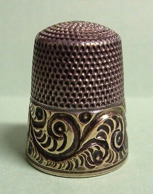 Vintage Antique 925 Sterling Silver,Gold Band Simons Brothers Bros. Thimble