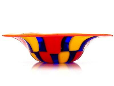 Signed By The Artist Murano Art Glass Pezzato Wavy Glass Dish by  A Ballarin