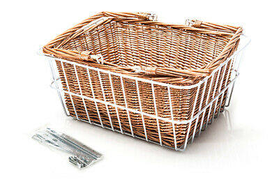 NEW Vintage Bicycle REAR Cane Basket with Black/White frame REID CYCLES