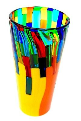 Signed By The Artist Stunning XL Size Murano Pezzato Art Glass Vase By Ballarin