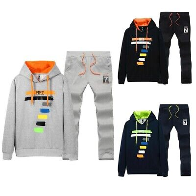 Mens Casual Tracksuit Sports Suit Sweat Hooded Tops And Long Pants Outwear Set