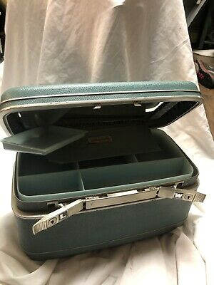 VTG Blue SAMSONITE Silhouette Luggage Travel Train Toiletry Case w Makeup Tray