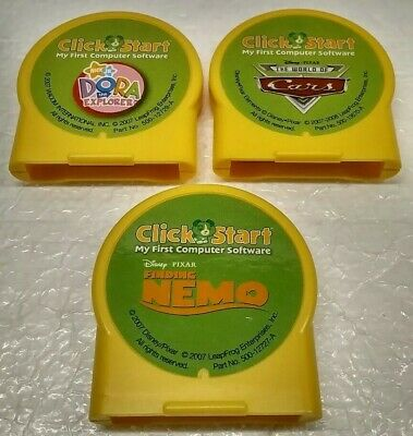 Leap Frog Click Start My First Computer Cars Dora Nemo Game Cartridge LOT of 3