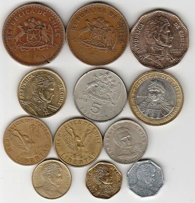 12 different world coins from CHILE