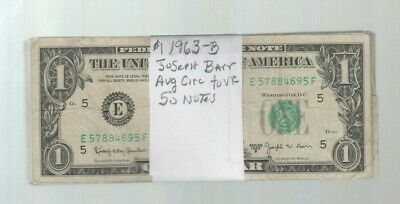 Federal Reserve Note $1 1963-B Joseph Barr 50 notes avg. circ to vf