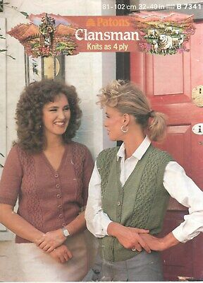 319a42ef750ef Vintage Patons Knitting Pattern No 7341 Waistcoat in 4 Ply Sizes 32 - 40 in