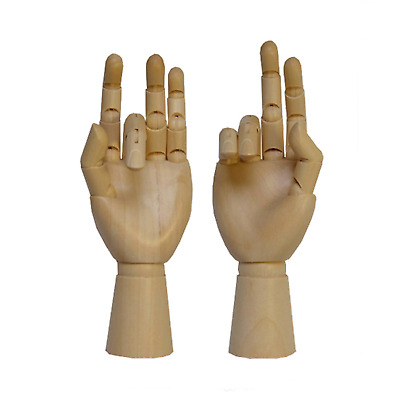 """Human Hands Figure Wood Sculpture Jointed Model Artists Sketch Animation 10"""" 7"""""""