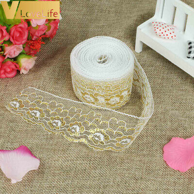 10Yards Gold Lace Embroidered Ribbon Soft Net Lace Trim FabricDIY Sewing Decor