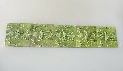 Antique Ceramic Tile Vintage Floral Flower Rococo Nouveau Fireplace Floral Old