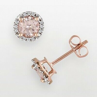 2Ct Round Pink Morganite Simulnt Diamond Halo Stud Earrings Rose Gold Fns Silver