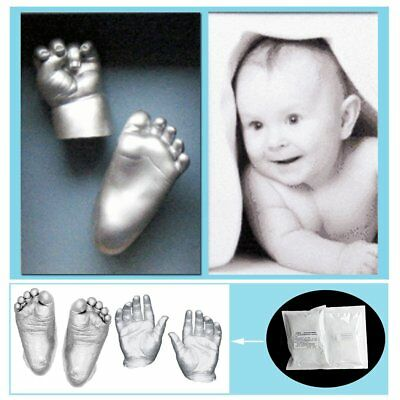 3D Plaster Handprint Footprint Baby Mould Hand&Foot Casting Prints Kit Gift FG