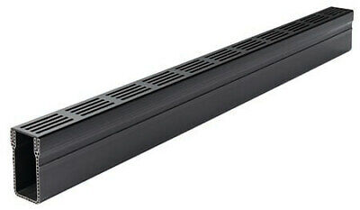 ACO Threshold Drain with Black Aluminium Grating - 1m
