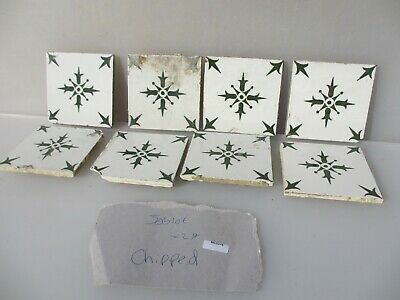 Vintage French Ceramic Tile Floral Flower Fleur Antique Old CHIPPED-DAMGED x29