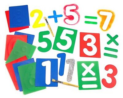 Large Number Set of Stencils | Washable | with Arithmetic Symbols