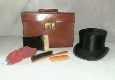 Antique Brown Leather Hat Box W/ Fur Felt Top Hat  By 'Herbert Johnson' 56 - 57