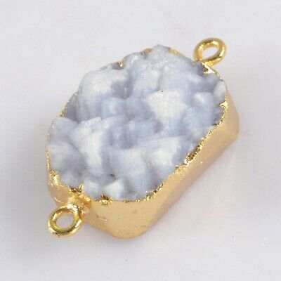 Natural Blue Chalcedony Druzy Connector Gold Plated B078110