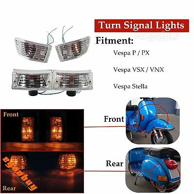 Scooter 2 Pairs Front Rear Clear Turn Signal Light Blinkers For Vespa VNX VSX PX