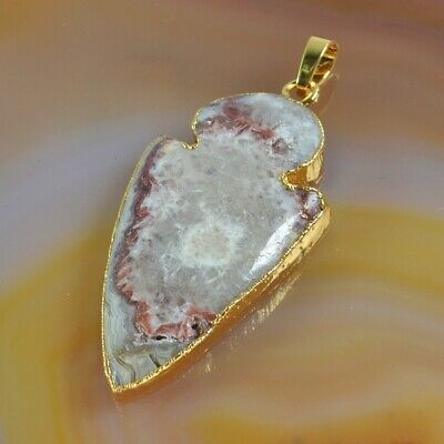 Arrowhead Mexican Crazy Agate Pendant Bead Gold Plated H130826