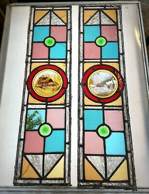 A Pair Of Reclaimed Antique Stained Glass Panels With Hand Painted Glass M1258