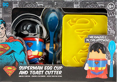 DC Superman Breakfast Easter Gift Set - Egg Cup, Spoon And Toast Cutter