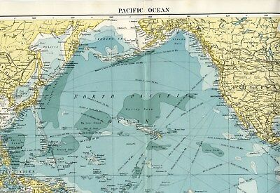 1923 Large Color MAP PACIFIC OCEAN Steamer Routes; Ocean Depths ALEXANDER GROSS