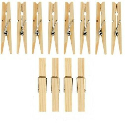 Wooden Clothes Pegs Clips Pine Washing Line Airer Dry Wood Peg Gardens Bag Pins
