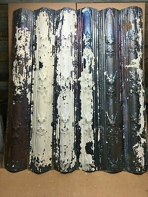 "6pc Lot of 48"" by 7"" Antique Ceiling Tin Vintage Reclaimed Salvage Art Craft"