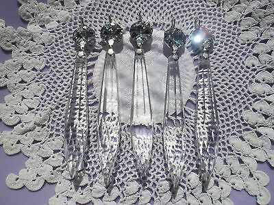 Silver Crystal Droplet & Cut Glass Crystal Icicle Chandelier Drops x5 spare part