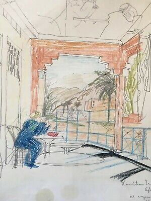 "RICHARD BEER 1928-2017 SIGNED Coloured Pencil Drawing ""Cafe Terrace, Morocco"""