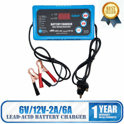 12V 6A Automatic LCD Digital Car Motorcycle Smart Fast Trickle Battery Charger