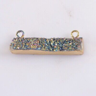 Natural Agate Titanium Druzy Connector Gold Plated T074824