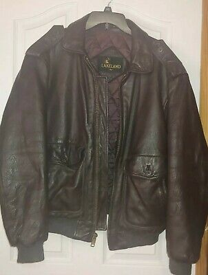 LAKELAND Vintage Leather Flight Bomber Jacket Size 40 Men's Medium Distressed