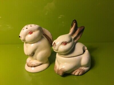 Rare Early Clarice Cliff Wilkinsons Pottery Bunny Rabbit Pepper Mustard Pots