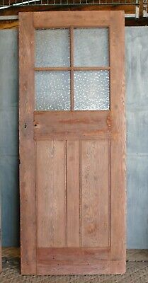 AN ANTIQUE RECLAIMED PINE DOOR WITH GLAZING  H2020mm W810mm C.1910 Ref DB0654