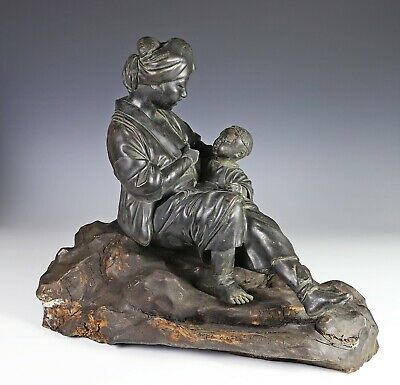 Superb Large Antique Japanese Bronze Statue Okimono of Mother and Child w Stand