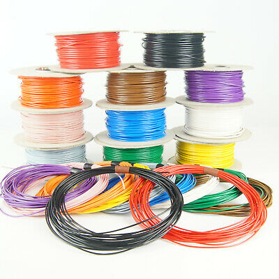 Single Core Stranded 12V 24V Cable Thin Wall Wire All AMP Ratings 11 Colours