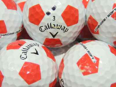 24 Callaway Chrome Soft Truvis Red & White Used Golf Balls AAA