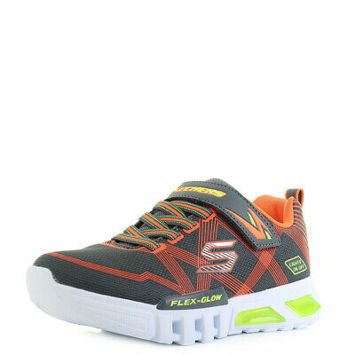 d1b3c1edf3e9 Boys Kids Skechers S Lights Flex Glow Charcoal Orange Light Up Trainers Sz  Size