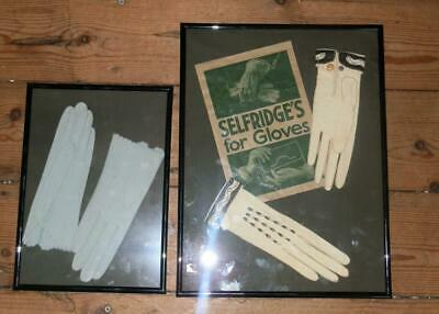 "Vintage 1950's Hermes Paris Kid Gloves Displayed In Frames By ""SELFRIDGES"""