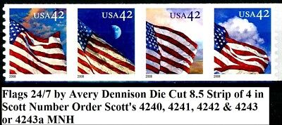 24/7 Flags Strip of 4 in Scott Order MNH Scotts 4240 4241 4242 4243 4243a by AVR